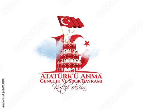 vector illustration 19 mayis Ataturk'u Anma, Genclik ve Spor Bayramiz - 267251218