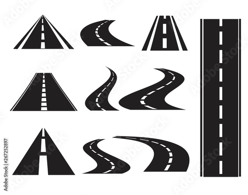 Fototapeta Road icons set, isolated on white background, obraz
