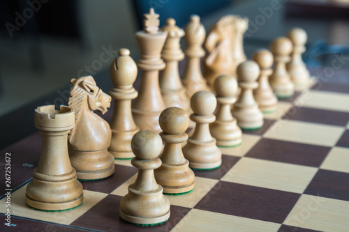 Leinwand Poster wood chess pieces on board game, sport