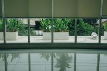 Aluminium Window & White Roll Blinds Roller Curtain