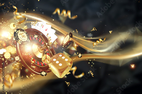 Photo  Creative background, roulette, gaming dice, cards, casino chips on a dark background