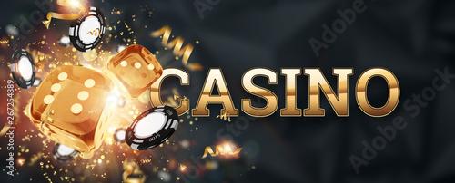 Fotografie, Obraz  Creative background, inscription casino, roulette, gambling dice, cards, casino chips on a dark background