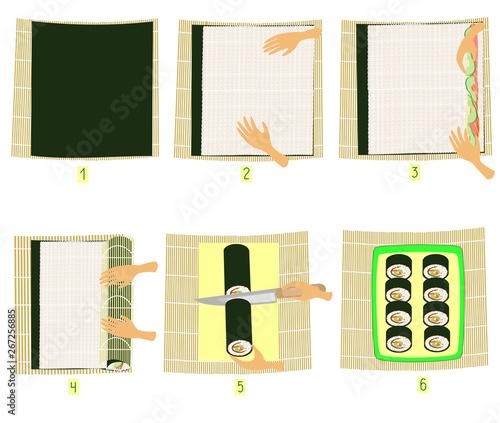 Fotografie, Obraz  Preparation of sushi in pictures