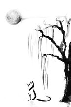Watercolor Black Ink Wash Hand Drawn Cat Under Willow Tree And Full Moon. Sumi-e Painting U-sin, Go-hua, Illustration On White Background