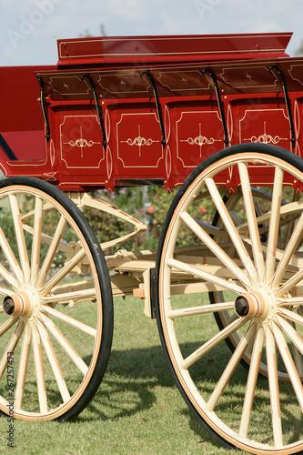 Foto op Aluminium Xian restored red and pale yellow wooden wagon