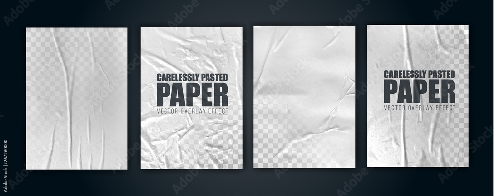 Fototapety, obrazy: vector illustration object. badly glued white paper. crumpled poster