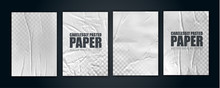 Vector Illustration Object. Badly Glued White Paper. Crumpled Poster