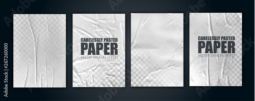 Fototapeta vector illustration object. badly glued white paper. crumpled poster obraz