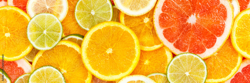 Fototapeta Citrus fruits collection food background banner oranges lemons limes grapefruit fresh fruit