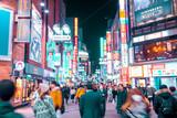 TOKYO,JAPAN - February 22, 2019 : Blurred people walking in  Shibuya  street , Japan