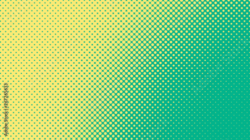 Poster de jardin Pop Art Green and yellow pop art background in retro comic style with halftone dots design
