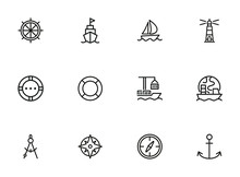 Ocean Port Line Icon Set. Boat...