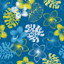 Vector Tropical Seamless Floral Pattern With Monstera Leaves And Hibiscus Flowers