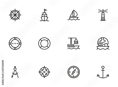 Fotografía Ocean port line icon set