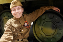 Boy Dressed In Soviet Military...