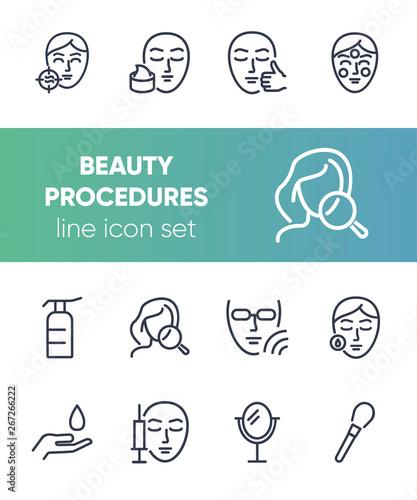 Fotografie, Obraz  Beauty procedures line icon set