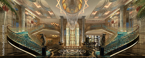3d render of luxury hotel reception lobby - 267269889