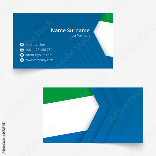 Fototapeta Sierra Leone Flag Business Card, standard size (90x50 mm) business card template. obraz na płótnie