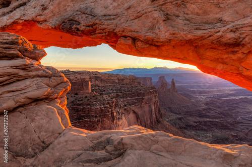 Canvas Prints Cappuccino Orange sunrise glow on Mesa Arch