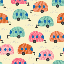 Camping Van Seamless Pattern Colorful Trendy Design Vector Illustration For Kids And Children Fashion Textile Print.