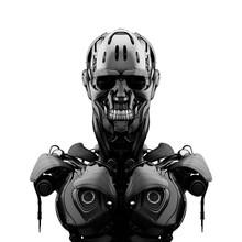 Mechanical Robotic Bust, 3d Rendering