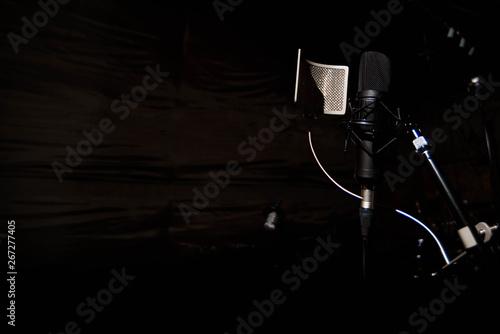 Vászonkép Close up studio condenser microphone with pop filter and anti-vi