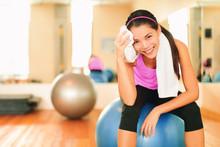 Asian Fitness Girl Training At...