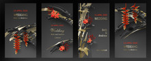 Tropical Black Gold Leaves On Dark Background Vector Poster Set. Beautiful Botanical Design With Golden Tropic Jungle Leaves, Exotic Red Flower Heliconia Wedding Ceremony Invitation Card, Holiday Sale