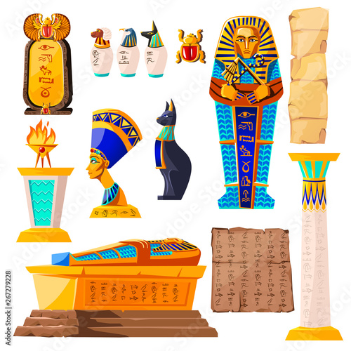 Photo Ancient Egypt vector cartoon set