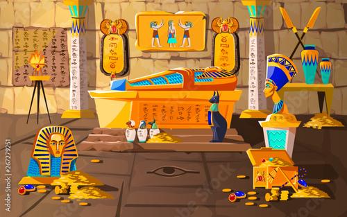 Fotografia Ancient Egypt tomb of pharaoh cartoons vector illustration