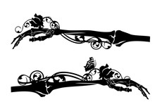 Human Skeleton Hand With Rose Flower And Butterfly - Memento Mori Black Vector Silhouette Concept Design