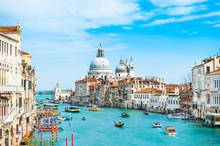 Grand Canal And Basilica Santa Maria Della Salute In Venice, Italy