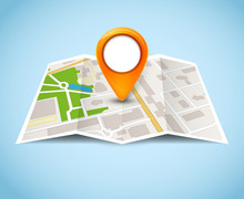 Map Gps Pin Icon Vector Road. Travel Home City Street Marker. Navigation Gps Illustration