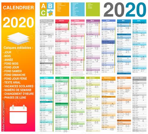 Calendrier De Vacances 2020.Calendrier 2020 14 Mois Avec Vacances Scolaires Officielles