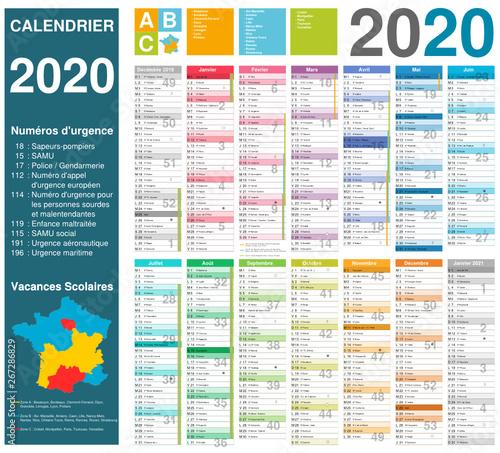 Calendrier 2020 Vacances Scolaires.Calendrier 2020 14 Mois Avec Vacances Scolaires Officielles