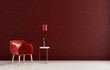 Leinwanddruck Bild - Interior composition with a red chair