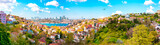 View of the Istanbul City of Turkey and houses with Bosphorus Bridge at Marmara Sea