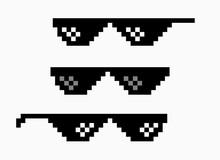 Thug Life Meme Pixel Glasses Icon. Sunglasses Hip Hop Joke Icon Prank Thug Life