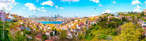 Photo  View of the Istanbul City of Turkey and houses with Bosphorus Bridge at Marmara