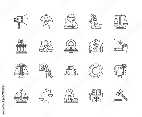 Fotografie, Obraz  Arbitration line icons, linear signs, vector set, outline concept illustration