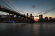 Brooklyn Bridge and Downtown Manhattan at Sunset from DUMBO