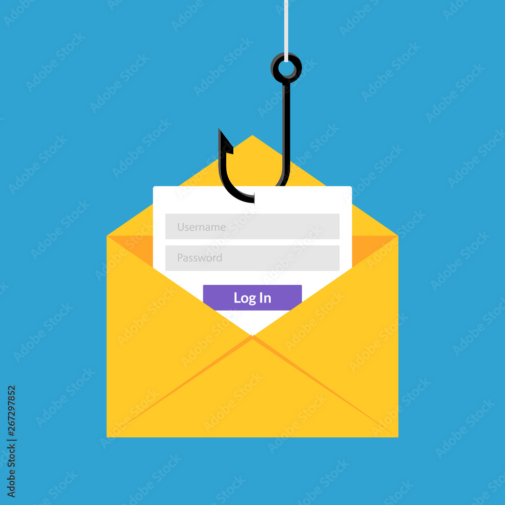 Fototapeta Data phishing hacking online. Scam envelope concept. Computer data fishing hack crime