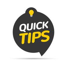 Quick Tips Icon Badge. Top Tips Advice Note Icon. Idea Bulb Education Tricks