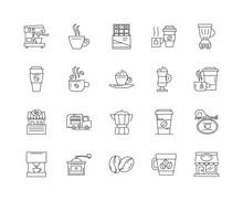 Coffee Shops Line Icons, Linea...