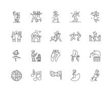 Dancing Line Icons, Linear Signs, Vector Set, Outline Concept Illustration