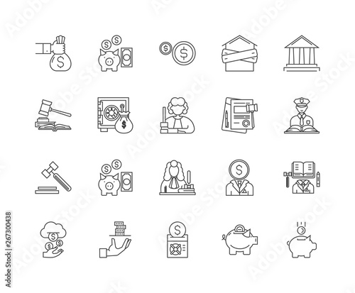 Photo Debt collector line icons, linear signs, vector set, outline concept illustratio