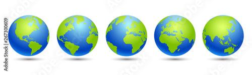 Fototapeta Set 3D Globes with World Maps - vector for stock obraz