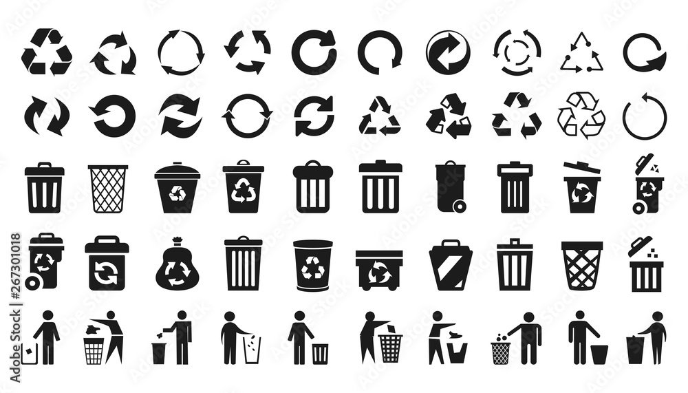 Fototapeta Recycle icons set and trash can icons with man - stock vector