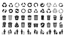 Recycle Icons Set And Trash Ca...