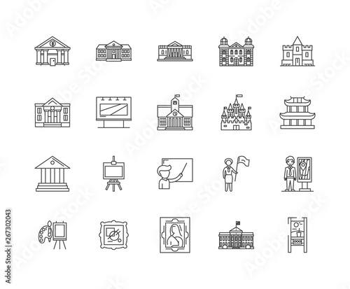 Fotomural Exhibition centre line icons, linear signs, vector set, outline concept illustra